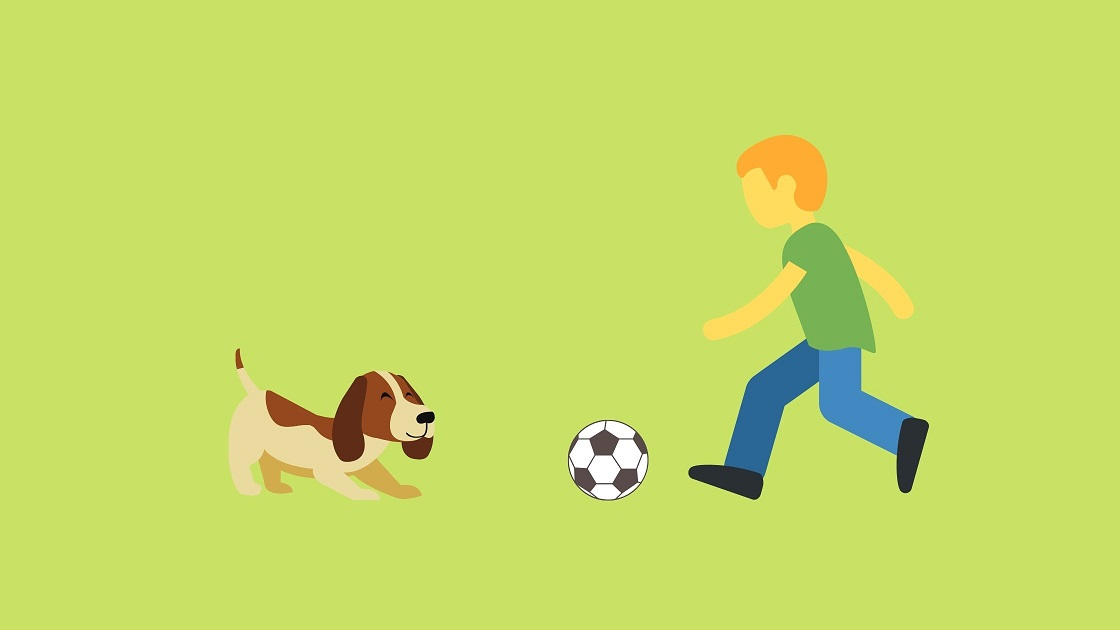 Boy and his brown dog playing with ball