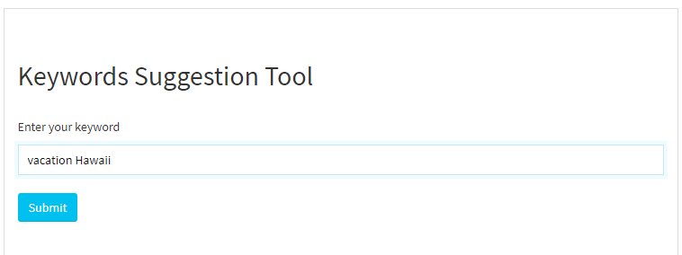 Keywords Suggestion Tool query